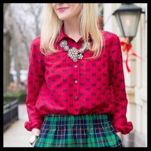 J. Crew Red Popover Shirt Bow Print Size 2